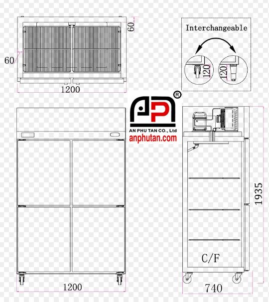 Tủ đông/ mát 4 cửa dạng đứng